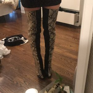 BRAND NEW Black and Snakeskin Thigh High Boots